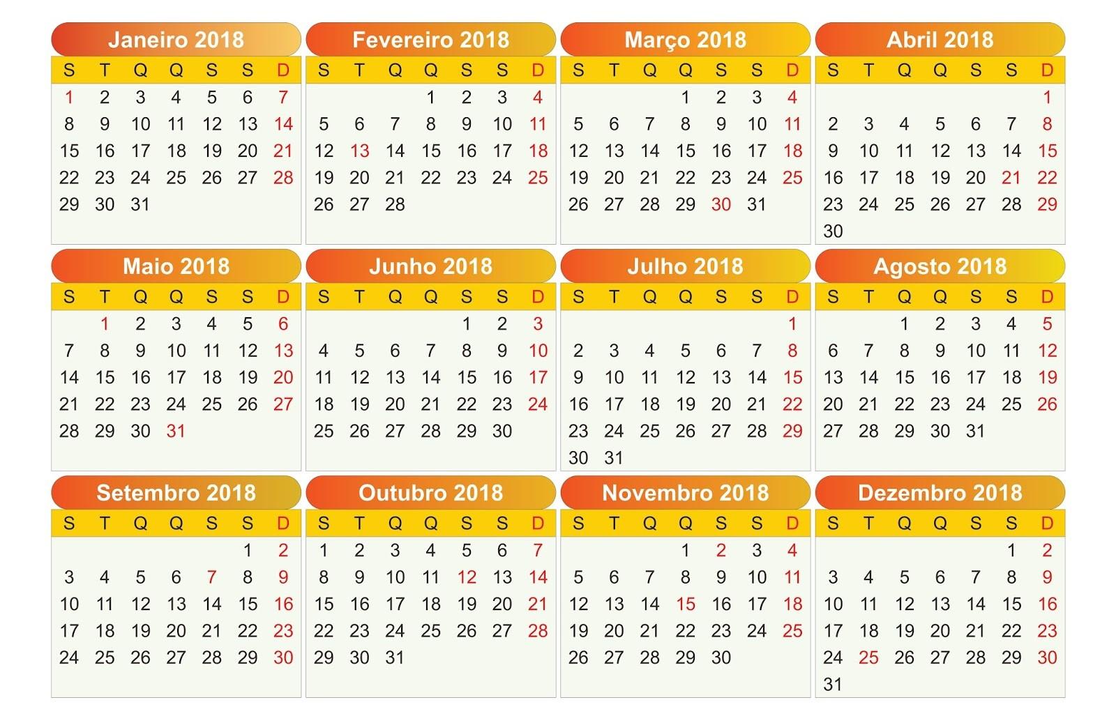 calendario 2018 pt br cdraipdfpng e psd