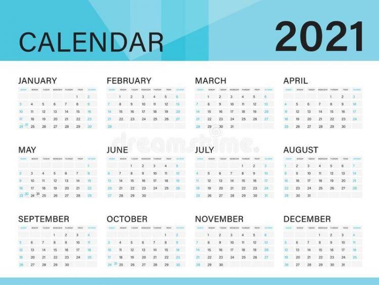Calendario 2021 Con Semanas Más Actual 2021 Yearly Calendar 12 Months Yearly Calendar Set In