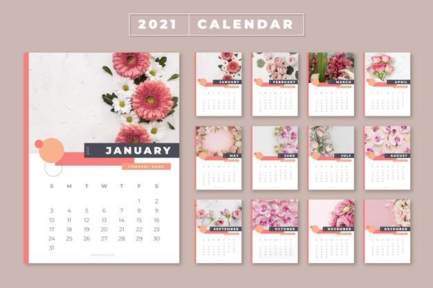 plantilla ilustrada calendario 2021