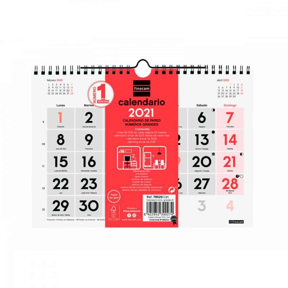 calendario pared s numeros grandes finocam 2021