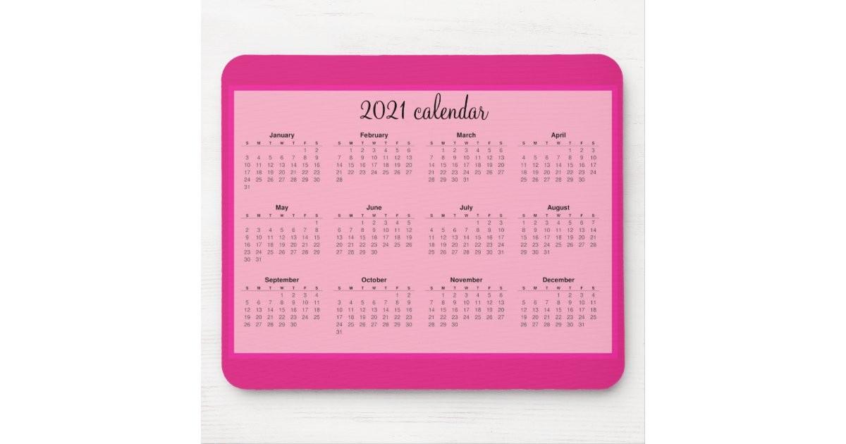 alfombrilla de raton calendario rosa 2021 moderno