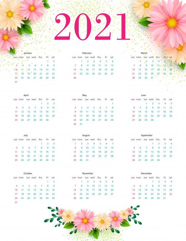 calendario 2021 desenhos florais modelo