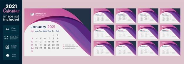 calendario de mesa 2021 layout abstrato rosa
