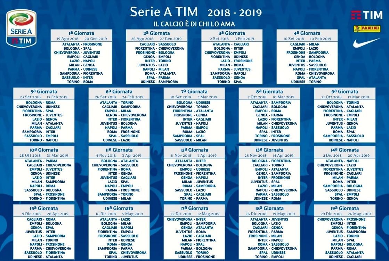 serie a ecco il calendario pleto del campionato 2018 19 la juventus partira da verona