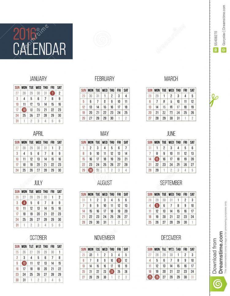 Calendario Del 2016 Más Populares Modello Semplice Del Calendario Da 2016 Anni Illustrazione