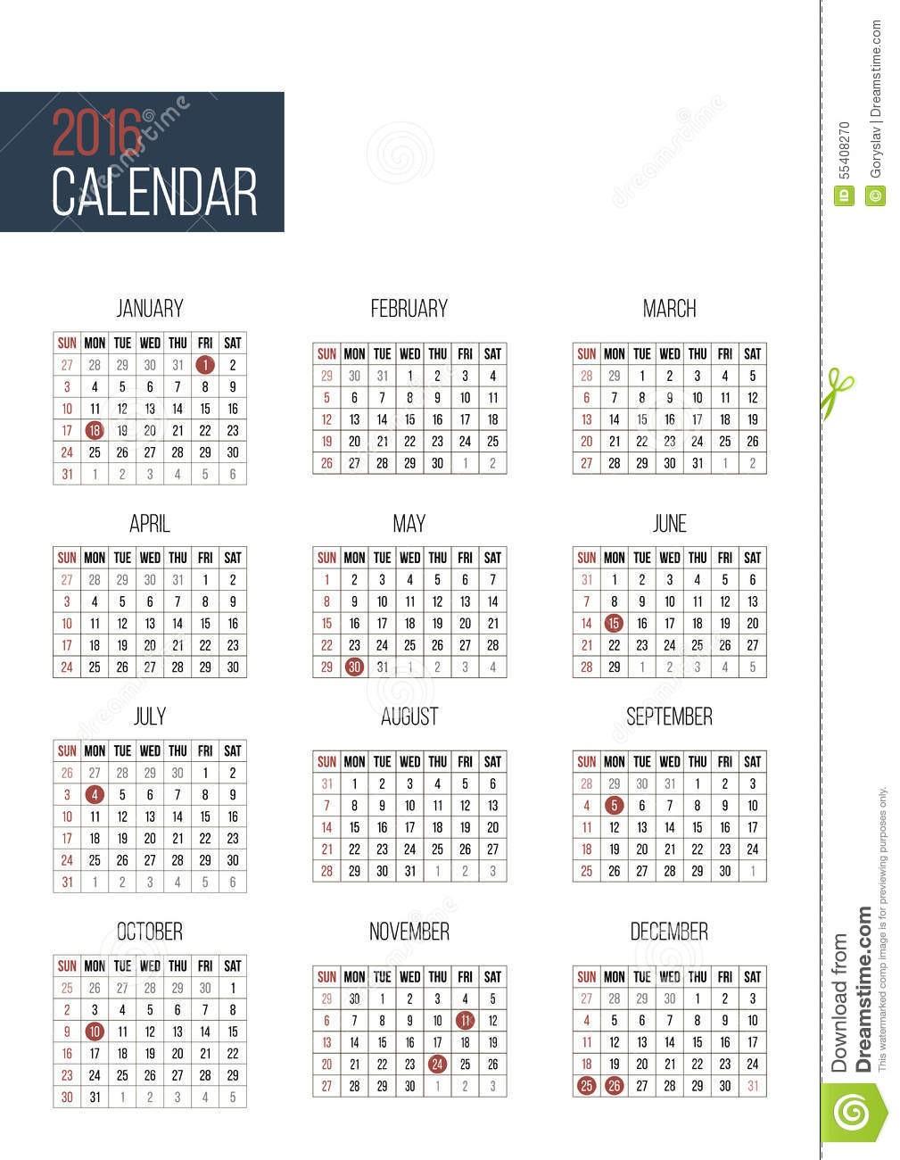 illustrazione di stock modello semplice del calendario da anni image