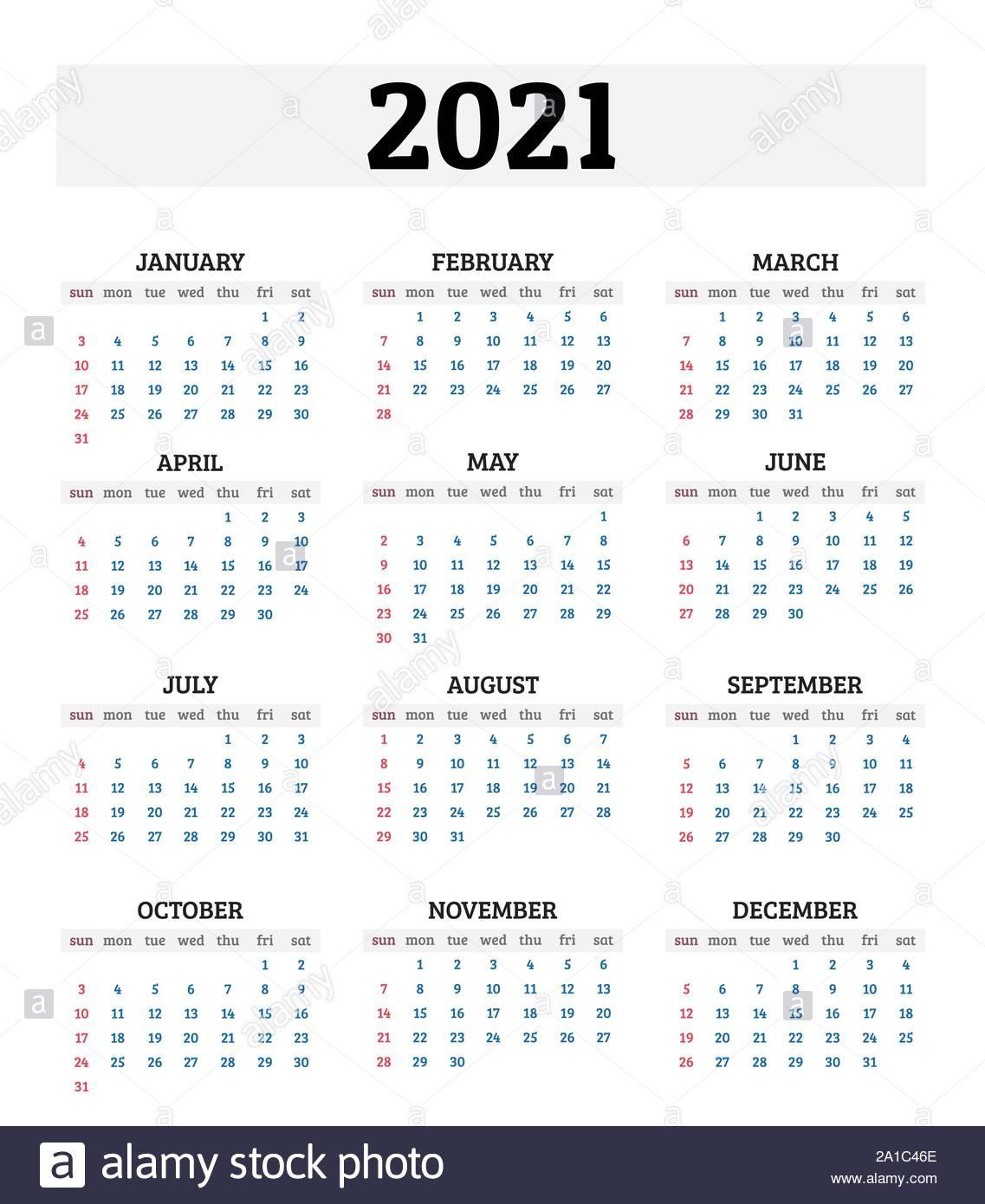 2021 calendario anual ilustracion vectorial image