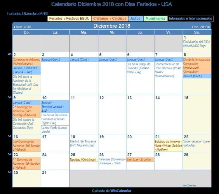 Calendario Diciembre 2018 Word Más Arriba-a-fecha Calendario Diciembre 2018 Para Imprimir Estados Unidos