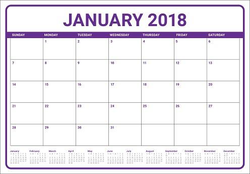Calendario Enero 2018 Recientes Ilustración De Ilustración De Vector De Enero De 2018