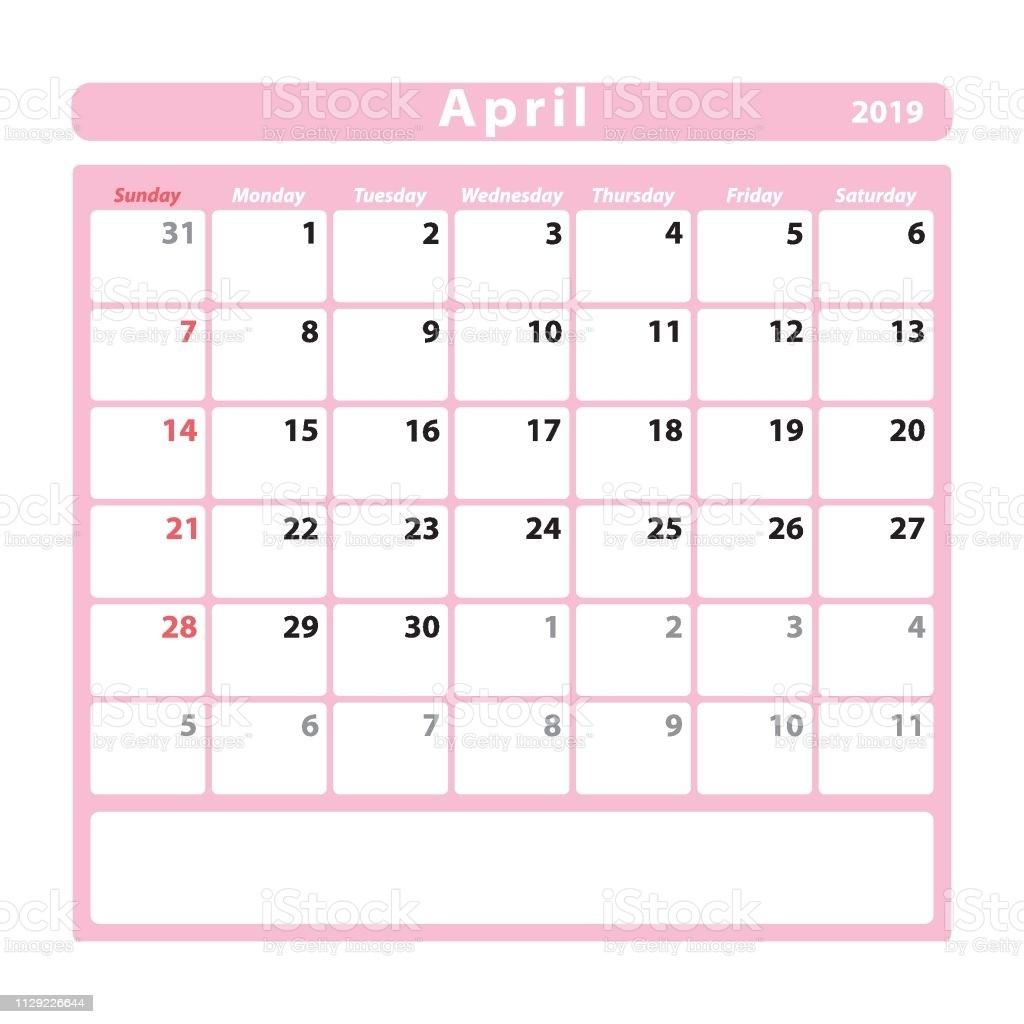 folha de calendário para o mês de abril de 2019 cor de rosa gm