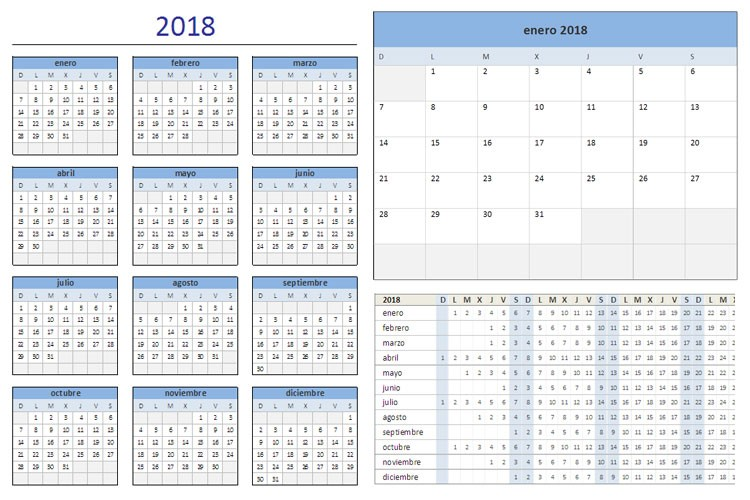 Calendario Excel 2018 Más Recientemente Liberado Calendario 2018 Para Imprimir Y Editar Descarga formatos