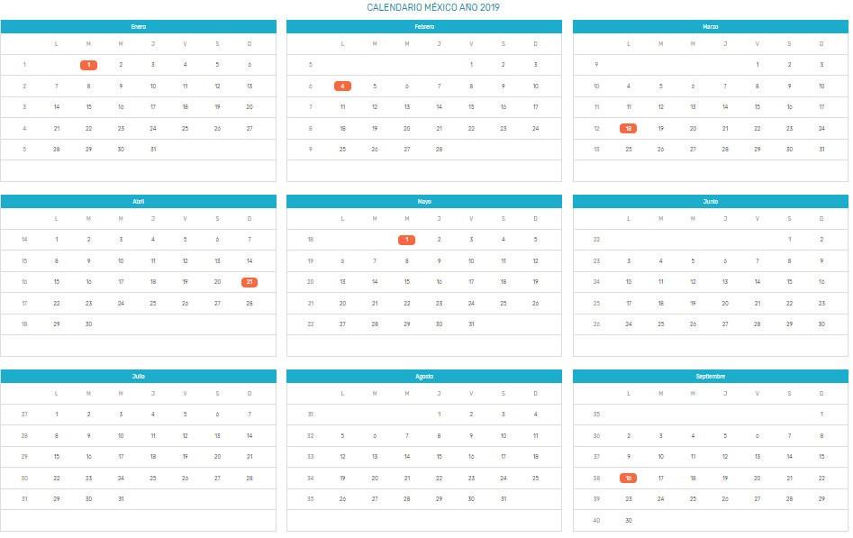calendario 2019 mexico con dias festivos 4