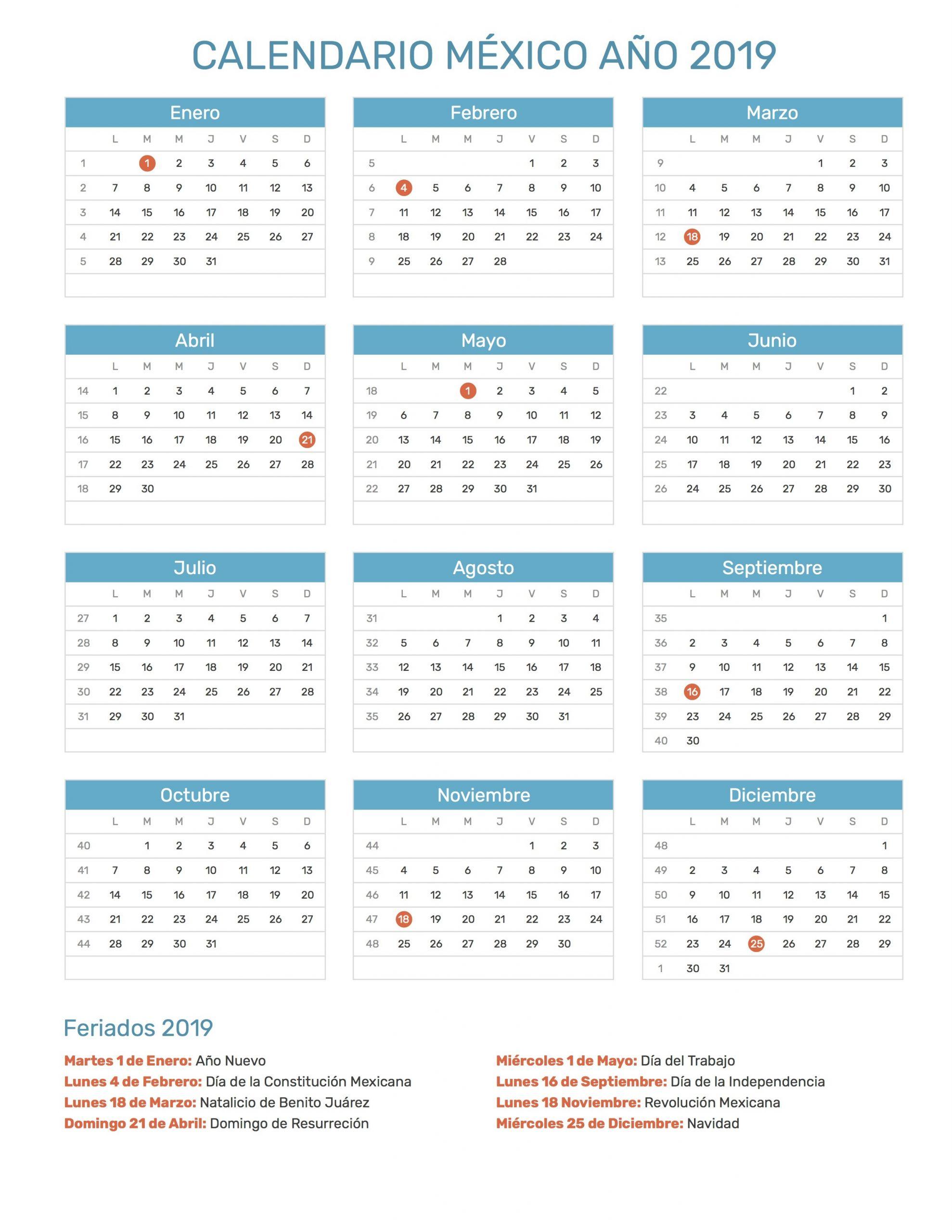 calendario 2019 mexico con dias festivos 9