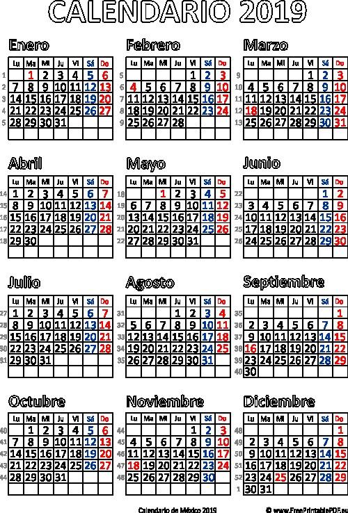 mx 2019 calendario mexico