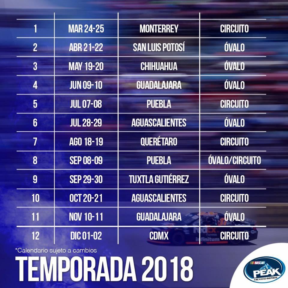 nascar peak mexico series ya tiene calendario para la temporada 2018