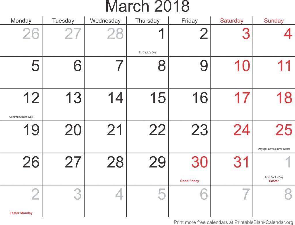 march 2018 printable blank calendar