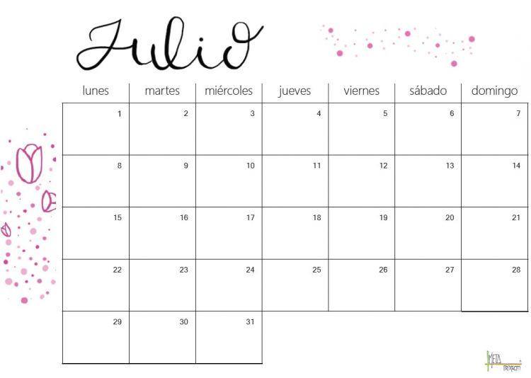 Calendario Vertical Mes Julio 2018 Más Actual Calendario De Julio Proxecto Meta