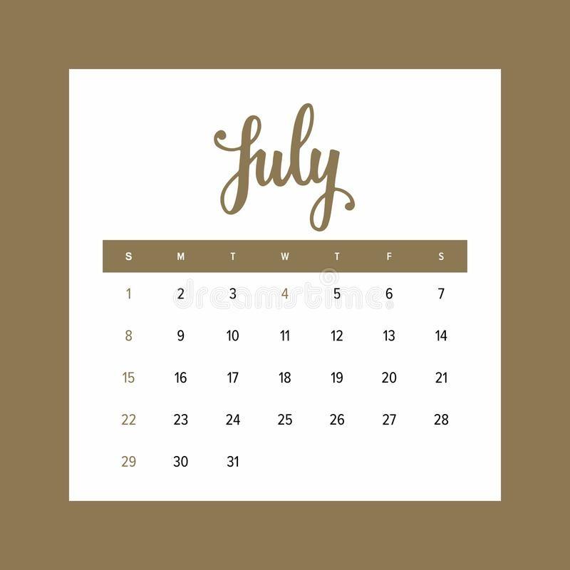 calendario el de julio un mes la plantilla elegante del diseño año image
