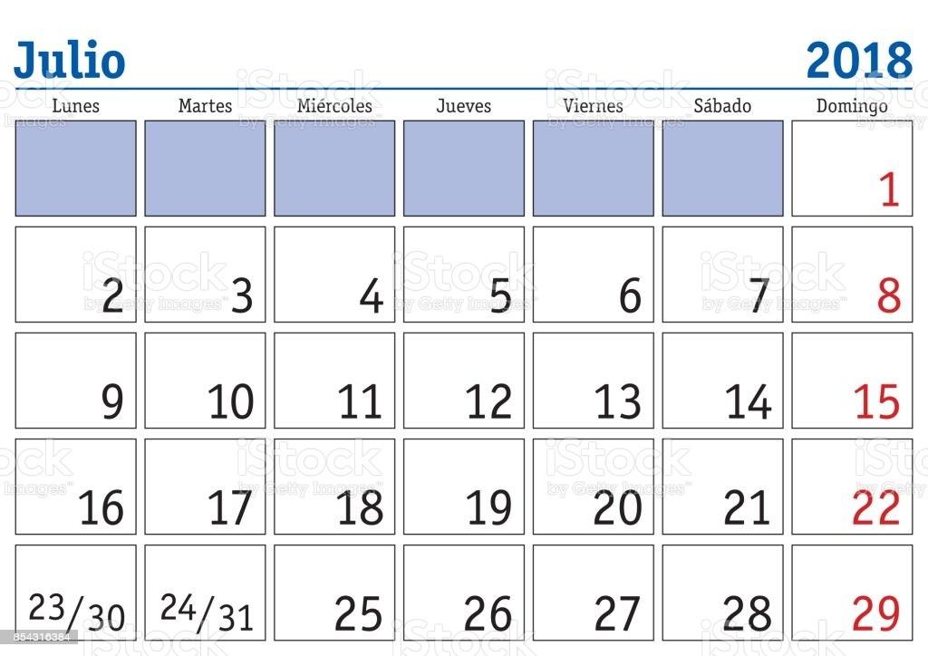 calendario de pared de julio 2018 español gm