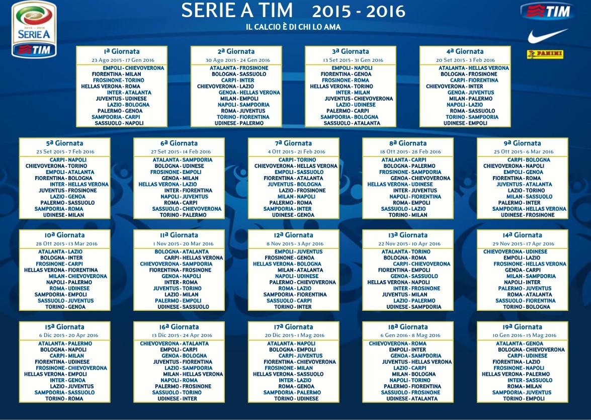 serie a 2015 16 ecco il calendario dellinter