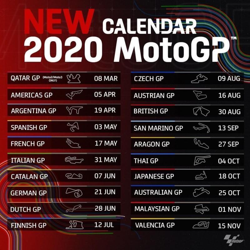 il calendario motogp 2020 date e orari tv di tutte le gare