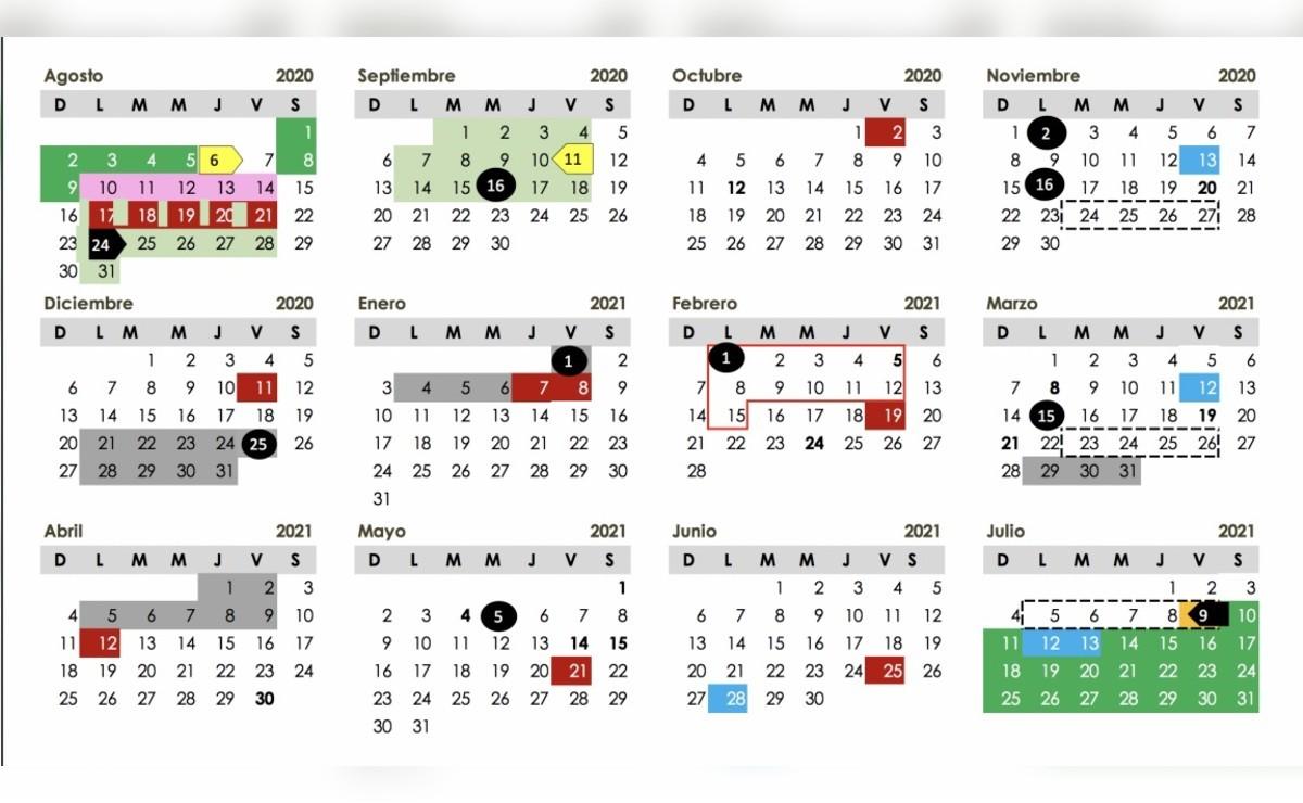 calendario para ciclo escolar 2020 2021